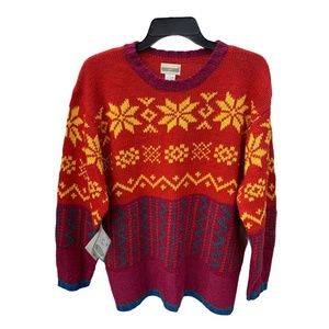 Ugly Hand Knit Christmas Sweater Red Purple Large